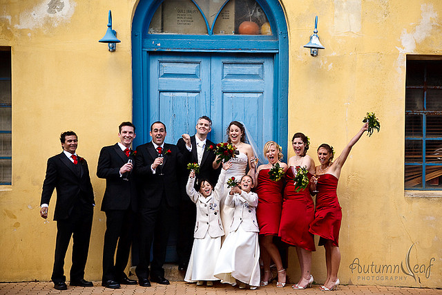 Courtney & Glen - The bridal party cheers