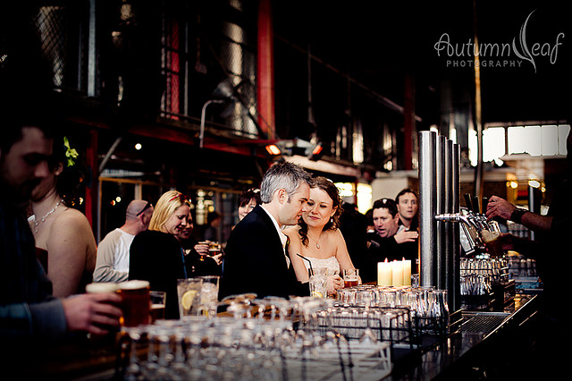 Courtney & Glen's Wedding - Having a drink at Little Creatures Brewery