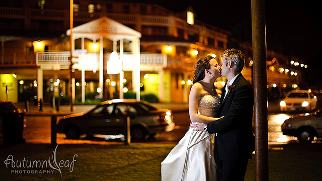 Courtney & Glen's Wedding - Under the street lamp