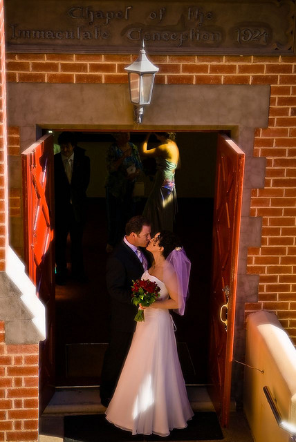 Kisses at the church door