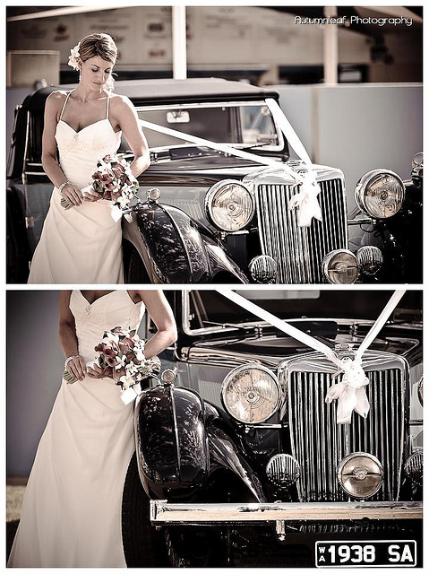 Lea and Todd's Wedding - Bride & Car