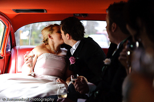 Prue & Paul's Wedding - Kisses in Limo